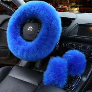 3pcs/set 15in Soft Elastic Winter Warm Plush Steering Wheel Cover Car Accessory