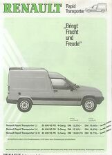 Renault Rapid Transporter Preisliste 7 87 Pkw Transporter prijslijst 1987 Europa