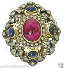 Blue Sapphire .925 Silver Wedding Anniversaryring 3.05ct Rose Cut Diamond Ruby &