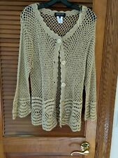 JONES NEW YORK SIZE 0X 100% COTTON GOLD HOLIDAY OPEN WEAVE SWEATER NWT