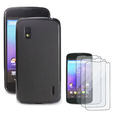 TPU Gel Silicone Case Skin Cover in black+ Clear Film for Google Nexus 4,LG E960