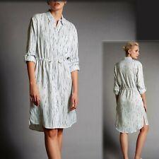 M&S AUTOGRAPH Silky Summer SHIRT DRESS ~ Size 12 ~ IVORY & BLUE Print