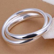 Ladies 67mm Large Round Bangle Bracelet 925Sterling Silver Womens Mens Jewellery