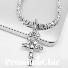ANKH Cross Pendant Tennis Chain 14K Silver Gold Rose Hip Hop Bling Necklace