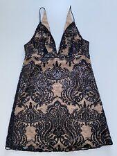 Free People Night Shimmers Sequin Mini Dress. Black/Nude. UK 6. RRP £98