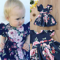 Toddler Kids Baby Girls Flower Summer Party Backless Dress Sundress Clothes