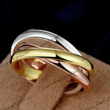 5pcs Stainless Steel 3mm Sigle Girl Women Finger Rings Creative 3 Colors HOT