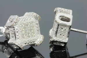 .29 CARAT WHITE GOLD FINISH MENS WOMENS 10 mm 100% REAL DIAMONDS EARRINGS STUDS