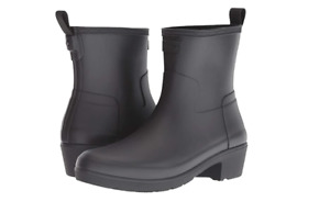 Hunter Refined NEW Womens Black Ankle Biker Rain Boot Heel Waterproof $145 7-9