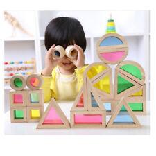 Wooden Rainbow Blocks Construction Building Toy Set Stacking Blocks 24-piece