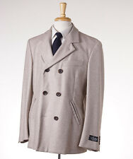 NWT $3295 BELVEST Beige Herringbone 100% Cashmere Peacoat 50/M (40 R) Outer Coat