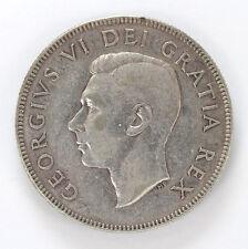 1948 Canada Silver Half Dollar George VI Km45 - F #01282958g