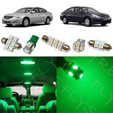 9x Green LED lights interior package kit for 2007-2012 Nissan Altima Sedan NA1G