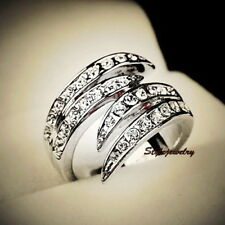 18k White Gold Plated Women Claw Cocktail Crystal Ring Size 9 R70