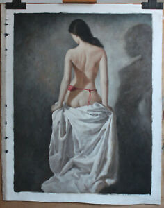 "Fine art female nude repro oil painting on canvas back girl signed 24""x32"""