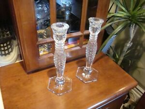 """Vinage Set of 2 - WATERFORD Crystal """"BETHANY"""" Candlesticks 10"""" x 3-1/2"""" base"""
