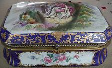 Antique 1700's Large Porcelain SEVRES Cobalt Blue Jewelry Casket Box w Portrait