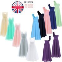 Girls Long Flower Dress Chiffon Gown Floor Length Dress Wedding Bridesmaid UK