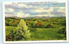 Sunrise Craggy Mountain Range Mars Hill North Carolina NC Vintage Postcard A44