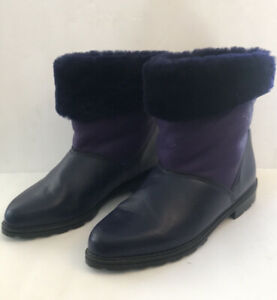 Le Canadienne Purple Boots 7.5 Faux Fur  Soft & Cozy
