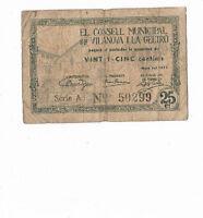 ESPAÑA LOCAL: 25 CENTIMOS AYUNTAMIENTO VILANOVA. AÑO 1937. RC+. SERIE A. ESCASO.
