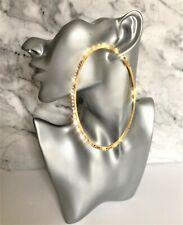 Big Diamante Hoop Earrings in Gold Tone Crystal 10 cms Drop with Rhinestones