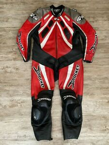 VINTAGE JOE ROCKET RED, BLACK, & WHITE LEATHER MOTORCYCLE RACING SUIT-SIZE 48