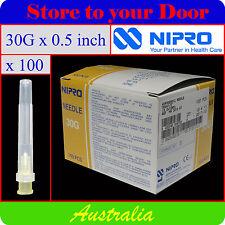 -(100) 30G x 0.5 Inch Hypodermic Needles / Medical Syringe Needle Tips - Sharps