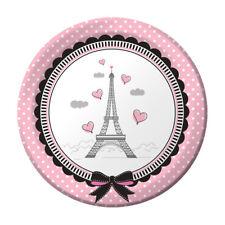 """Party in Paris Birthday 8 ct 7"""" Dessert Plates Eiffel Tower"""