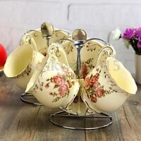 Rose / Peony Ceramic Coffee Tea Cup Set Mug Bone China Porcelain w/ Saucer+Spoon