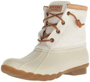NIB Sperry Top-Sider Women's Duck Boots Saltwater Ivory Metallic Sz 8 - 9.5