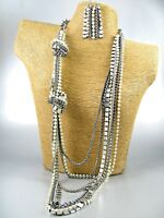 Long Knotted Chains Chunky Necklace Earrings Set Costume Women Jewelry