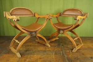 60er Vintage Scherenstuhl Leather Wood Armchair Easy Lounge Chair 1/2
