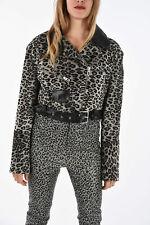 DROME women Sz S Multicolor Leather Animalier Print Cropped Belted Biker Jacket