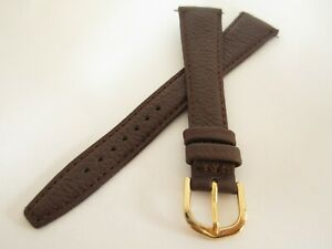 Extra Long Brown Calf grain Leather 20mm Watch Strap Gold Buckle inc pins