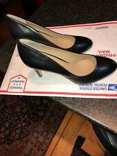 $120 MSRP Saks Fifth Avenue Black Leather Benni Pumps Stiletto US 9.5