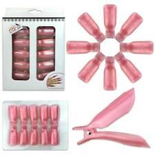 1pk Bow Ribbon Style Pink Acrylic Nail Soak Off Finger Cap Clips Wrap Tool *USA*