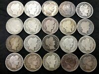 Lot of 20 Silver Barber Dimes ( Mixed P,D,O,S ) (1897-1916).