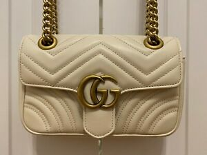 Gucci GG Marmont Small Matelasse Leather Shoulder Bag Women White Authentic