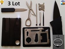 Credit Card Knives,11 in 1 Multi tools 3 Lot wallet thin pocket survival knife