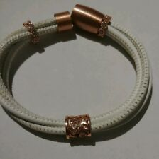 Luca Lorenzini White Leather Bracelet w/ copper beads and magnetic Latch.