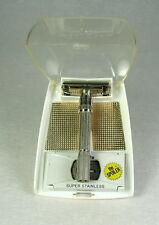 """1962 Gillette Slim Adjustable """"H2"""" Safety Razor Set Case Super Stainless Blades"""