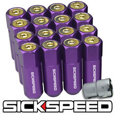 SICKSPEED 16 PURPLE/24K GOLD CAPPED EXTENDED 60MM LOCKING LUG NUTS 1/2X20 L30