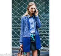Zara Jacquard Jeans Aztèque Manteau Taille S