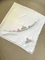 """Vintage White Hand Embroidered Linen Tablecloth 48"""" x 48"""" - Excellent Condition"""