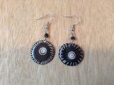 Africana-Arena Handmade Maasai Tribal Cow Horn Bone Round Dangle Earrings AA227
