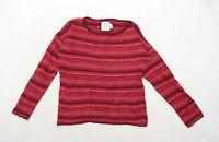 H&M Womens Size M Striped Red Jumper (Regular)