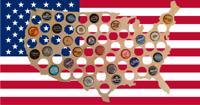 USA Beer Bottle Cap Holder Birch Wood Wall Art Bar Craft Beer America Map U.S.A.