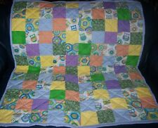 "Handmade Baby Boy Crib Quilt, Features Owls, 39"" x 45"""