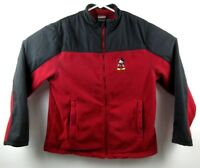 Disney Store Mickey Mouse Zip Front Fleece Jacket Size M Mens Red Black